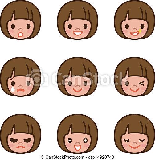 Expression set of girl  - csp14920740