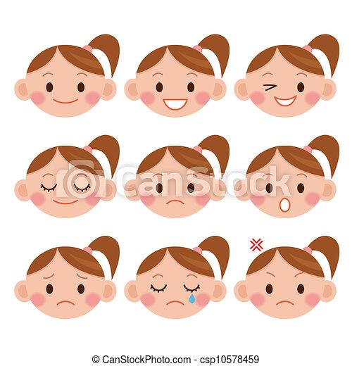 expressions., girl, dessin animé, rigolote - csp10578459