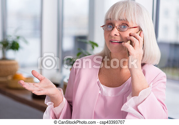 Expressive Businesswoman Calling Someone What Are You Talking About
