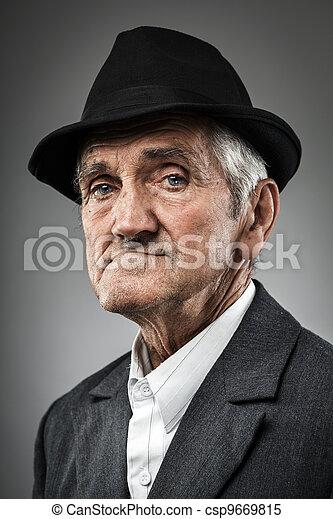 Expressive senior portrait - csp9669815