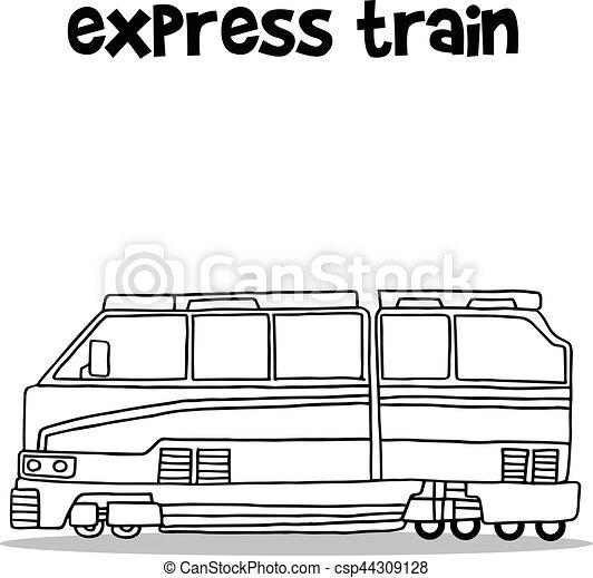 expresso, desenhar, trem, mão - csp44309128