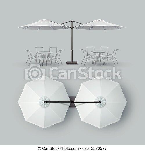 extérieur, barre, restaurant, double, parasol, café, patio - csp43520577