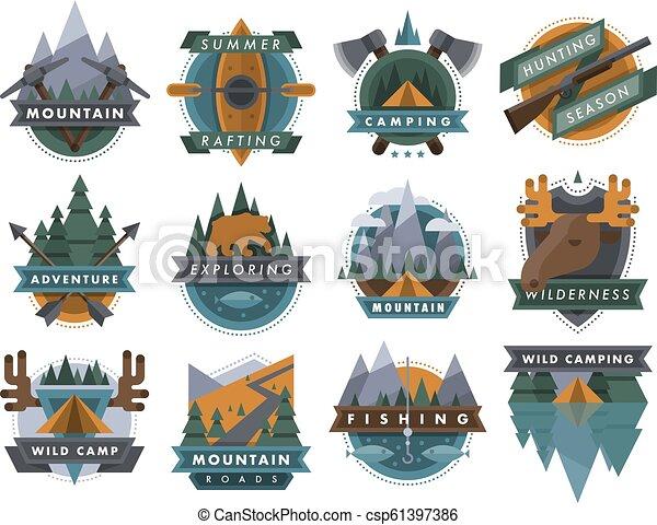extérieur, camping, icônes, voyage, vecteur, logo, tourisme, insignes - csp61397386