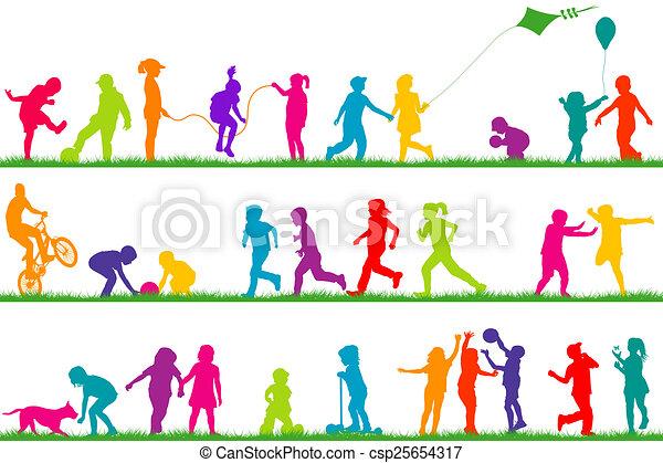extérieur, coloré, enfants, silhouettes, ensemble, jouer - csp25654317