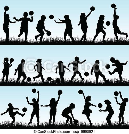 extérieur, ensemble, jouer, balles, enfants - csp19990921