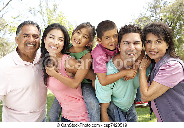 Extended Family Group In Park - csp7420519