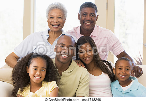Extended family sitting on sofa - csp1718246