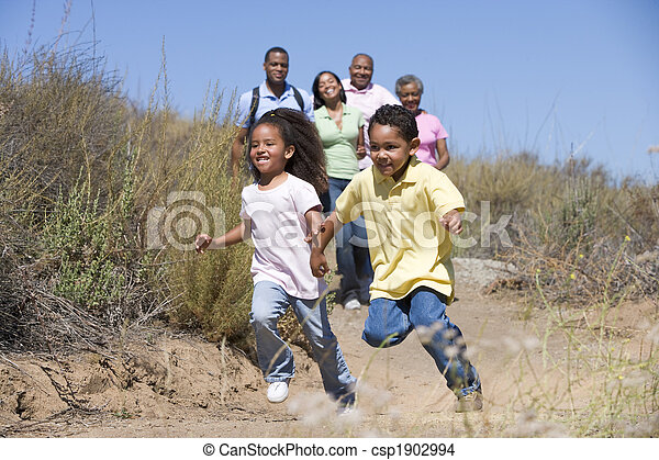 Extended Family walking in countryside - csp1902994