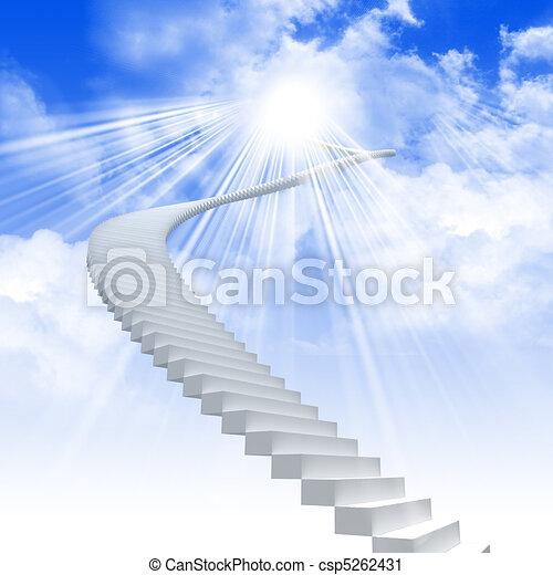 La escalera blanca se extiende a un cielo brillante - csp5262431