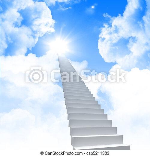 La escalera blanca se extiende a un cielo brillante - csp5211383