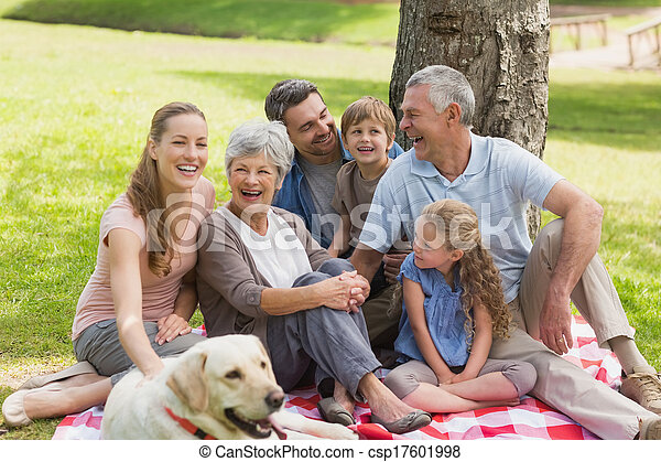 Familia extendida con su perro mascota en el parque - csp17601998