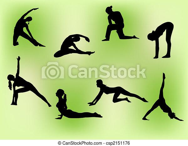 Mujeres estirando - csp2151176