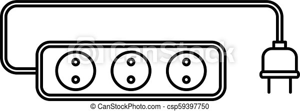 Extension cord icon, outline style - csp59397750