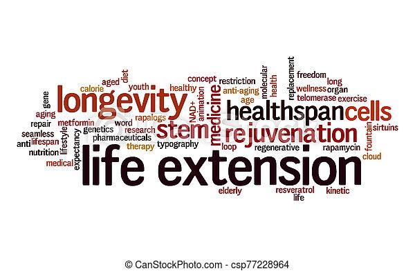 extension, mot, vie, cloud., typography. - csp77228964