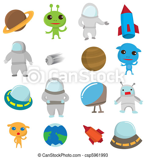 Cartoon Out Space icon - csp5961993