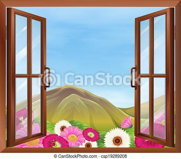 Una ventana abierta con flores afuera - csp19289208