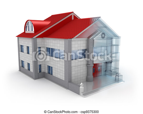 exterior house design over white drawing csp9375300