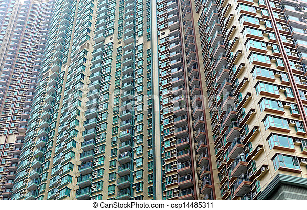 Exterior Of Apartment Building In Hong Kong   Csp14485311