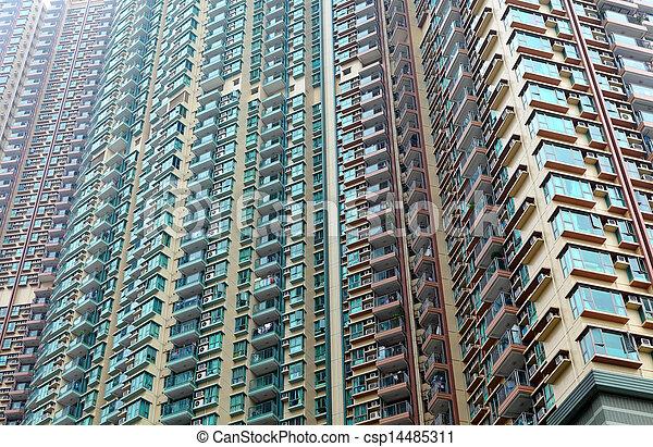 Exterior Of Apartment Building In Hong Kong   Csp14485311