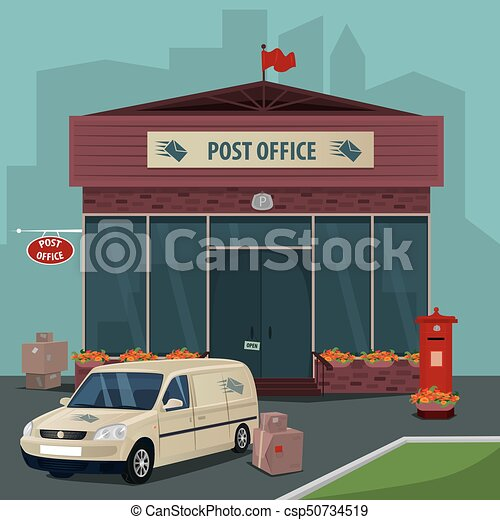 Exterior Of Post Office And Car Of Postal Service Exterior Of