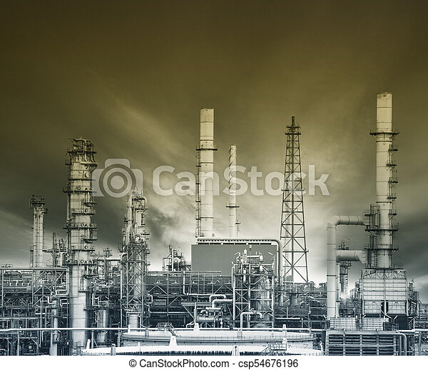 exterior structure of oil refinery plant in heavy petro chemical industry estate - csp54676196
