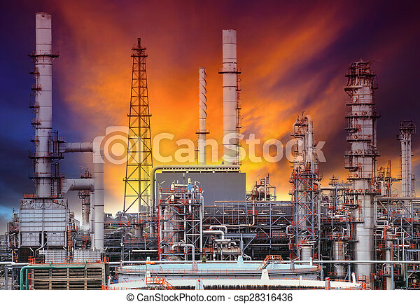 exterior structure of oil refinery plant in petrochemical industry plant - csp28316436