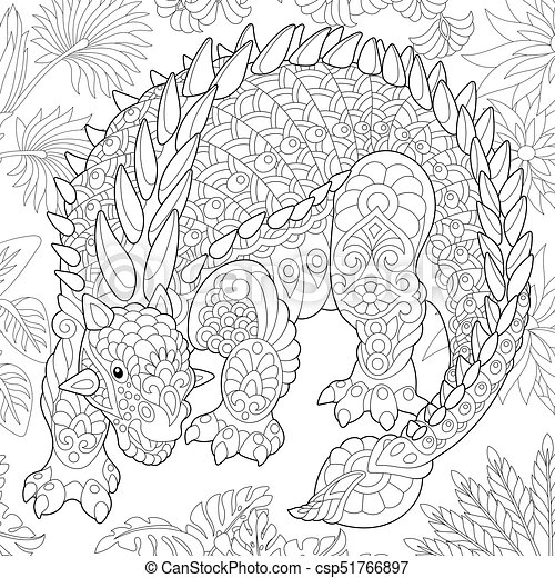 Extinct species. Ankylosaurus dinosaur. - csp51766897