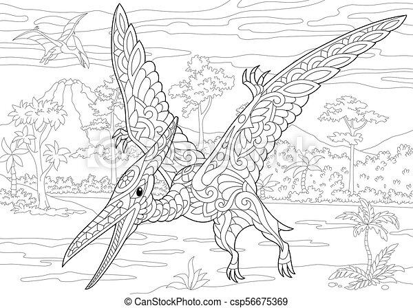 extinct species pterodactyl dinosaur coloring page of pterodactyl dinosaur pterosaur of the. Black Bedroom Furniture Sets. Home Design Ideas