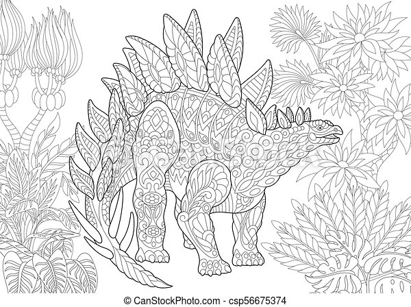 Extinct species. Stegosaurus dinosaur. - csp56675374