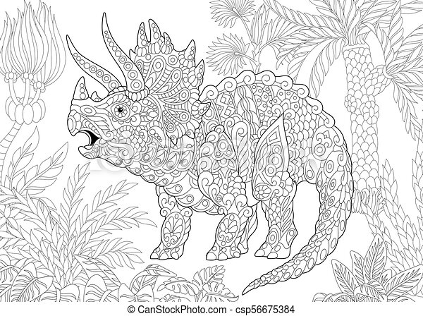 Extinct species. Triceratops dinosaur. - csp56675384