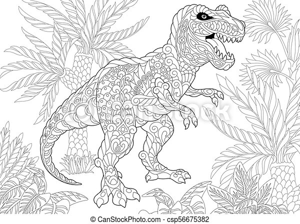 Free T Rex Coloring Pages | Haramiran | 341x450