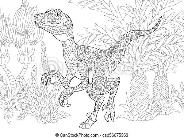 Extinct Species Velociraptor Dinosaur Coloring Page Of