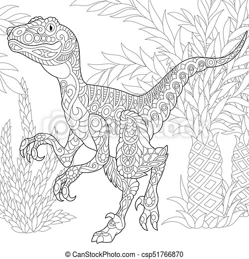Extinct Species. Velociraptor Dinosaur. Coloring Page Of Velociraptor  Dinosaur Of The Late Cretaceous Period. Freehand Sketch CanStock