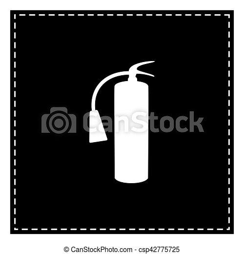 extincteur, brûler, signe., isoler, pièce, arrière-plan., noir, blanc - csp42775725
