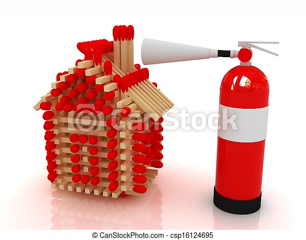 extincteur, tir journal, modèle, allumettes, maison, rouges - csp16124695