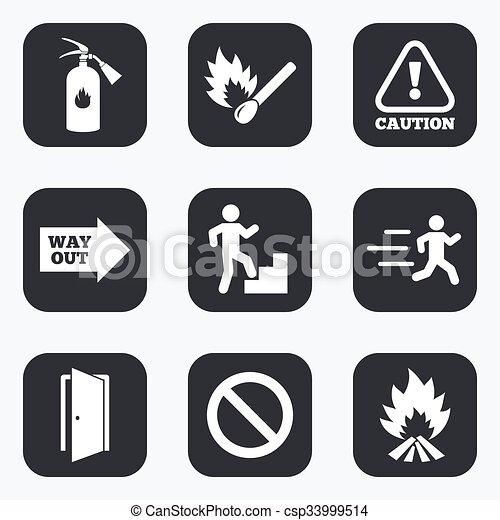 extincteur, urgence, brûler, signe., icons., sécurité - csp33999514