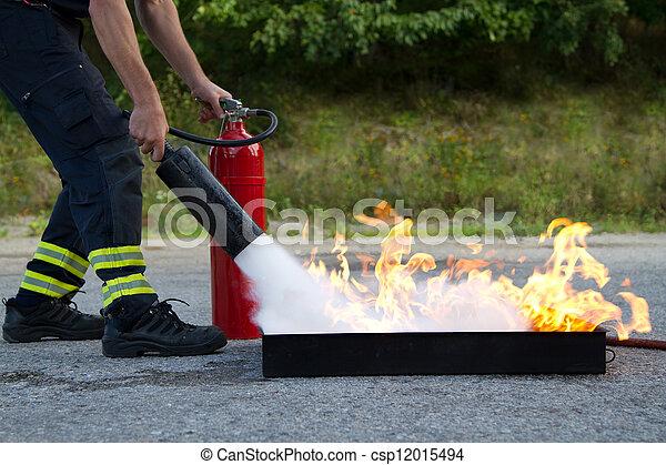 extincteur, usage, brûler, projection, formation, comment, instructeur - csp12015494