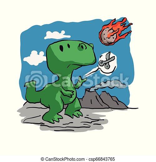 Extinction of dinosaurs funny cartoon - csp66843765