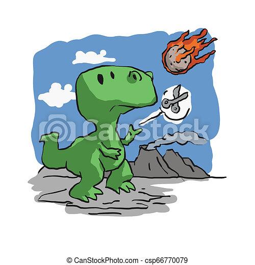 Extinction of dinosaurs funny cartoon - csp66770079