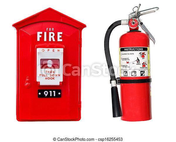 extintor, alarme, caixa, isolado - csp16255453
