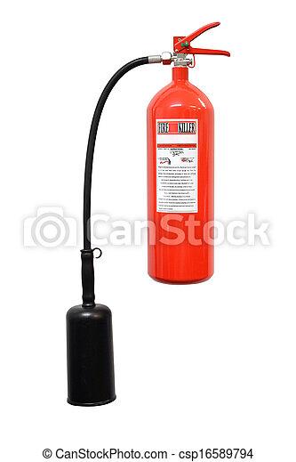 Extintor de incendios aislado en fondo blanco - csp16589794