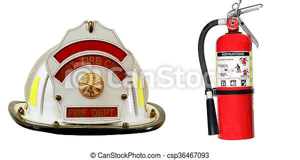 extintor, bombeiro, isolado, chapéu - csp36467093