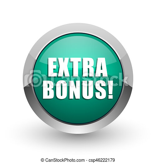 Extra bonus silver metallic chrome web design green round internet icon with shadow on white background. - csp46222179