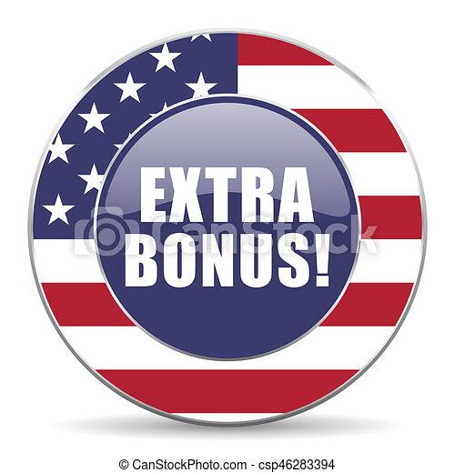 Extra bonus usa design web american round internet icon with shadow on white background. - csp46283394