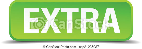Extra green 3d realistic square isolated button - csp21235037