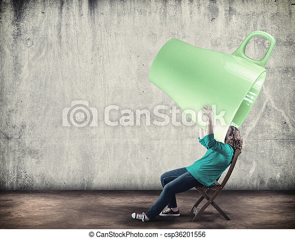 bf4e11b7fb1 Extra large cup. Young girl drink from a huge cup of coffee.