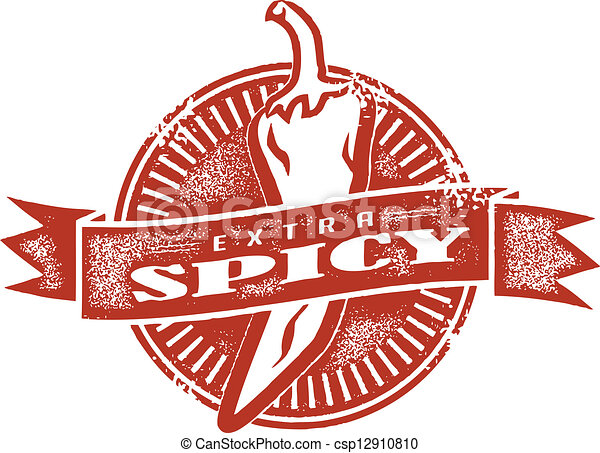 Extra Spicy Vintage Style Stamp - csp12910810