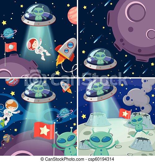 Un conjunto de extraterrestres en el espacio - csp60194314