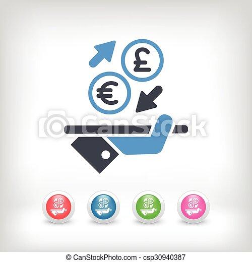 Euro-sterling - ícono de intercambio de moneda extranjera - csp30940387