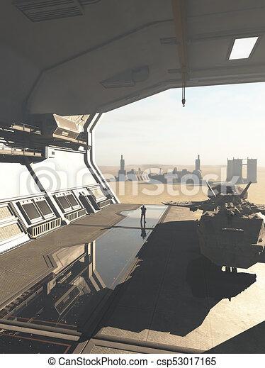 extranjero, planeta, hangar, nave espacial, desierto - csp53017165